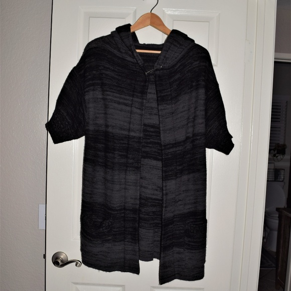 Sweaters - Black and Grey Long Sweater Cardigan Size Medium